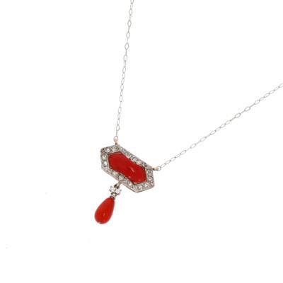 Naszyjnik w stylu art déco z platyny z koralem i diamentami KAREA ID 000145