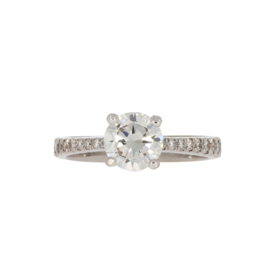 Nowoczesny pierścionek zaręczynowy z brylantem z białego złota KAREA ID 000165