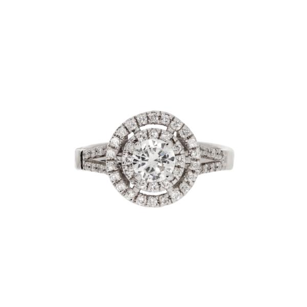Nowoczesny pierścionek zaręczynowy z brylantem z białego złota KAREA ID 000168