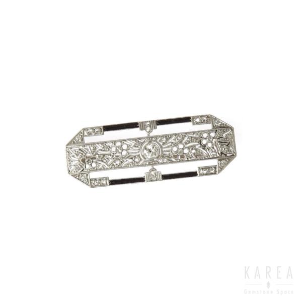 Brosza art déco antykwaryczna z diamentami i onyksami złota KAREA ID 000482
