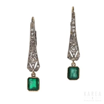 Kolczyki art déco ze szmaragdami i diamentami biżuteria antykwaryczna KAREA ID 000546