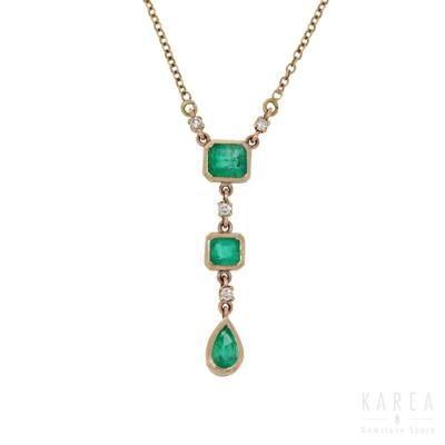 Naszyjnik nowoczesny z żółtego złota z diamentami i szmaragdami KAREA ID 000138