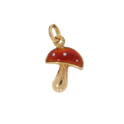 Wisiorek–muchomor zezłota zczerwoną emalią ibiałą KAREA ID 000450