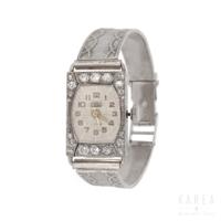 Zegarek biżuteryjny art déco z diamentami z białego złota aukcja KAREA ID 000340