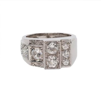 Pierścionek sygnet w stylu art déco z diamentami biżuteria antykwaryczna KAREA ID 000167