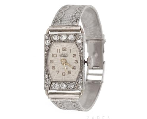 Zegarek biżuteryjny art déco zdiamentami zbiałego złota aukcja KAREA ID 000340