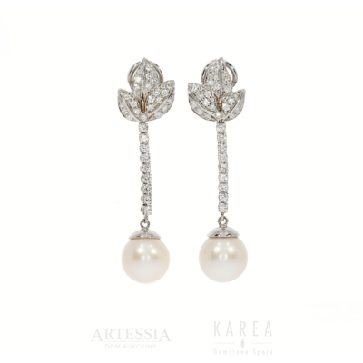 Kolczyki długie perłami ibrylantami aukcja KAREA ID 000903