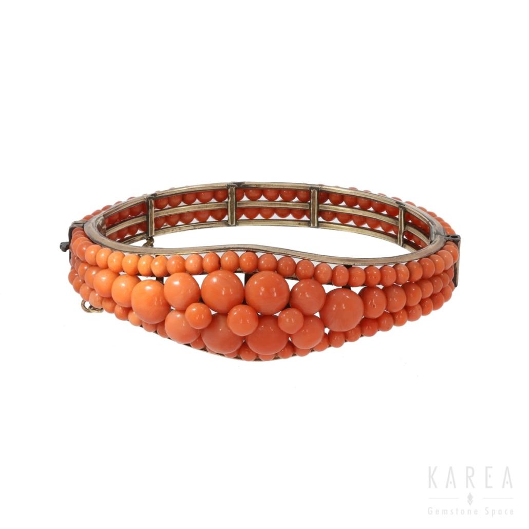 Bransoleta biedermeier zkorala metal złocony KAREA ID 000314