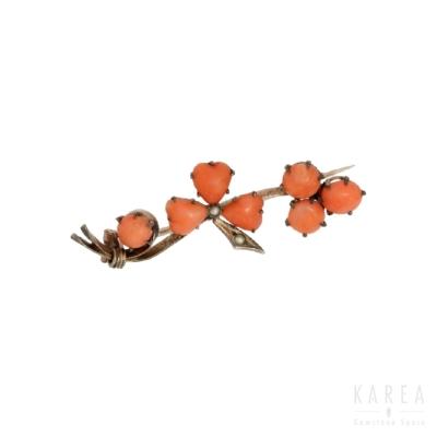 Brosza gałązka z korali w formie serca i półperłami z metalu złoconego KAREA ID 000322