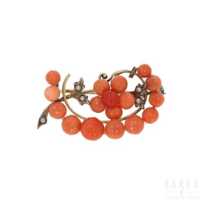 Brosza gałązka z korali z półperłami z metalu złoconego KAREA ID 000321