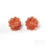 Klipsy biedermeier z korala złoto duble KAREA ID 000220