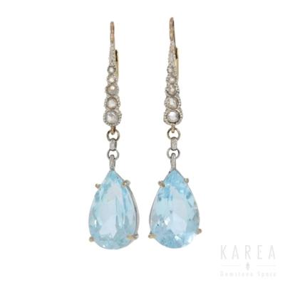 Kolczyki długie z akwamarynami i rozetami diamentowymi KAREA ID 000941