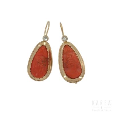 Kolczyki XIX wiek koral rzeźbiony kamee i rozety diamentowe złoto KAREA ID 000606