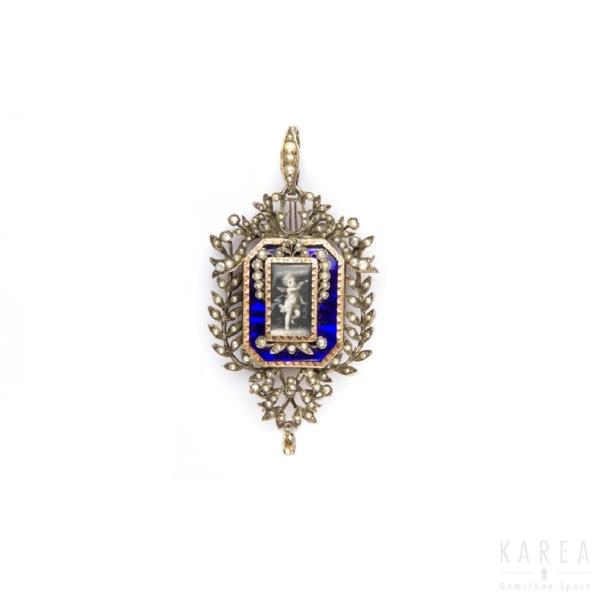Medalion emaliowany z motywem harf Francja XIX wiek z miejscem na fotografie KAREA ID