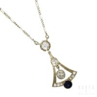 Naszyjnik art déco z szafirem i diamentami aukcja KAREA ID 000843