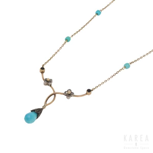 Naszyjnik dekorowany turkusem w szlifie biolet i rozetami diamentowymi KAREA ID 000534