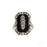 Pierścionek art déco antykwaryczny z onyksem i diamentami ze złota KAREA ID 000487