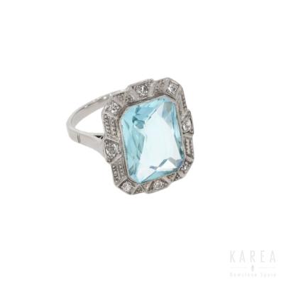 Pierścionek art déco z akwamarynem i diamentami KAREA ID 000417