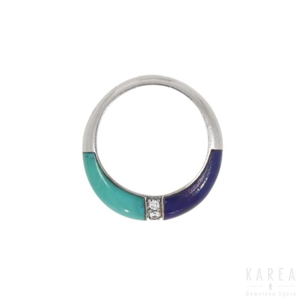 Pierścionek współczesny dekorowany turkusem i lapis lazuli KAREA ID 577