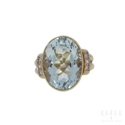 Pierścionek koktajlowy z akwamarynem 14 ct aukcja KAREA ID 000291