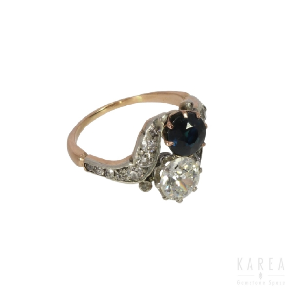 """Pierścionek """"Toi et Moi"""" tzw. mijanka z diamentem i szafirem z żółtego złota KAREA ID 000618"""