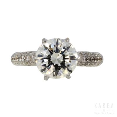 Pierścionek zaręczynowy z brylantem 2,53 ct z białego złota aukcja KAREA ID 000862