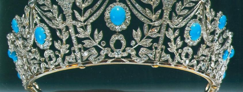 Tiara dekorowana turkusami i diamentami