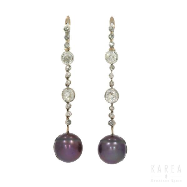 Kolczyki z perłami Tahiti i diamentami KAREA ID 000626