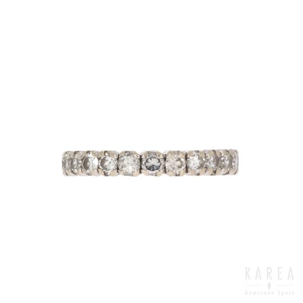 Obrączka eternity współczesna z brylantami białe złoto KAREA ID 000295