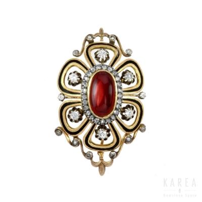 Wisior granaty w szlifie kaboszonowym diamenty perły czarna emalia biżuteria antykwaryczna Warszawa KAREA