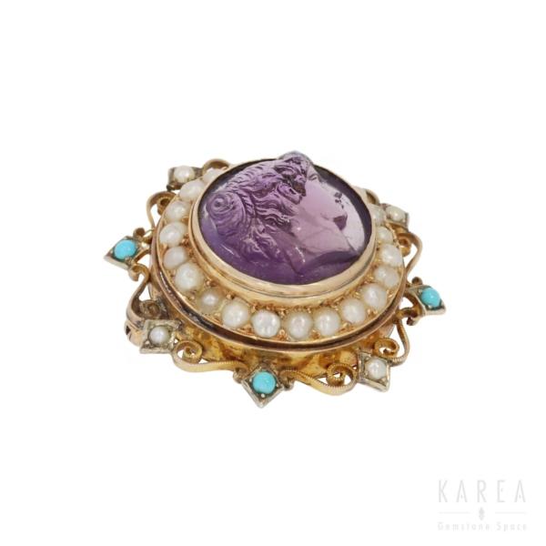 Brosza-kamea z funkcją medalionu XIX wiek, ametyst perła turkus KAREA Warszawa
