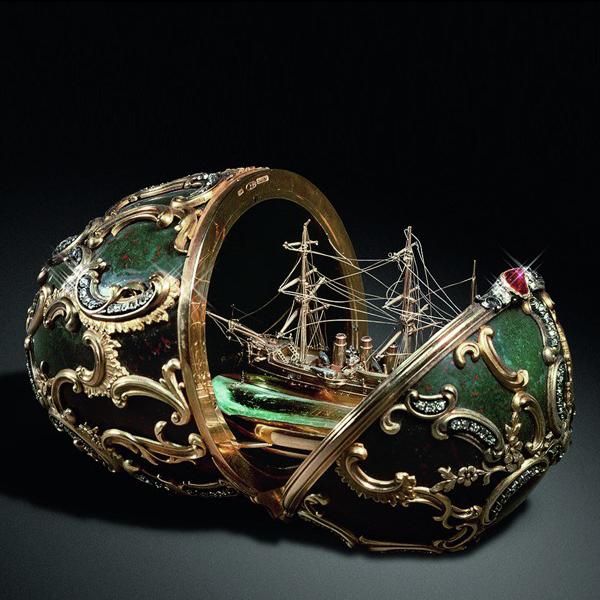 Jajko zminiaturą okrętu Pamięć Azowa (Memory of Azow), 1891