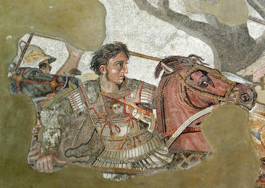 Mozaika przedstawiająca Aleksandra Wielkiego naBucefale podczas bitwy podIssos (333 rok p.n.e.)