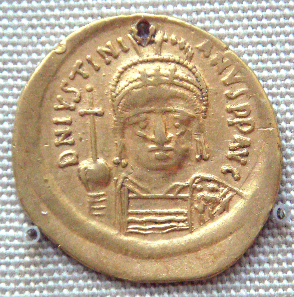 Złota moneta Justyniana wydobyta wIndiach.