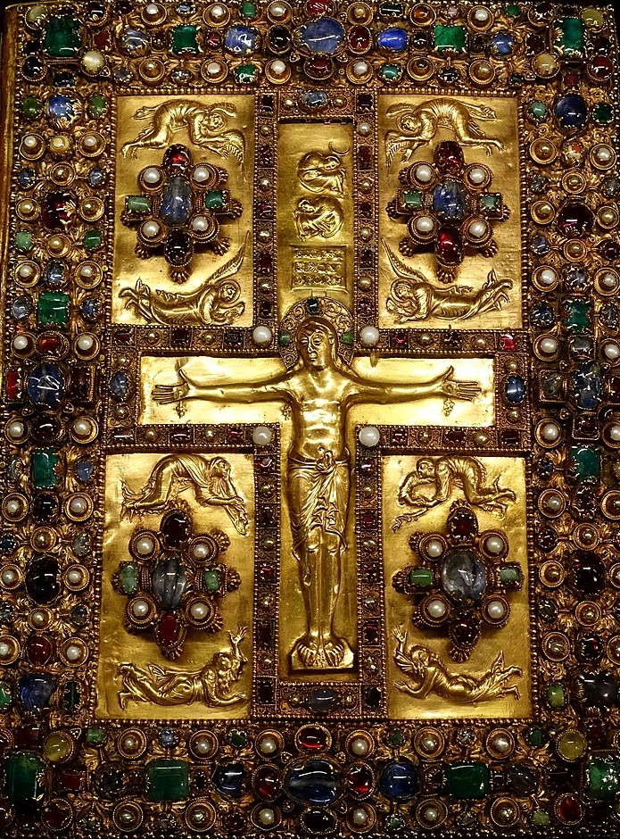 Okładka manuskryptu Lindau Gospels, lata 896-899, dziś wzbiorach Morgan Library & Museum wNowym Jorku