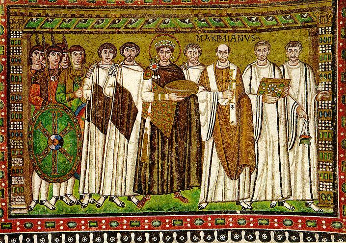 Mozaika zprzedstawieniem cesarza Justyniana IWielkiego idostojników kościelnych, kościół San Vitale wRawennie, ok. 548 r