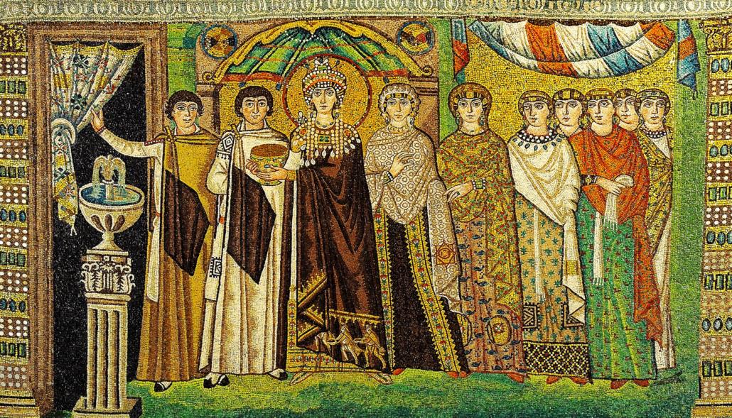 Mozaika zprzedstawieniem orszaku cesarzowej Teodory, kościół San Vitale wRawennie, ok. 548 r