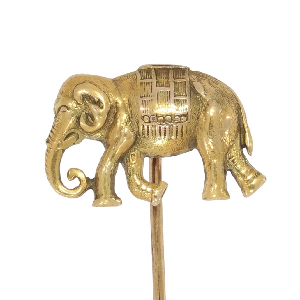 Szpilka dokrawata wformie słonia, XX wiek; zwierzęta