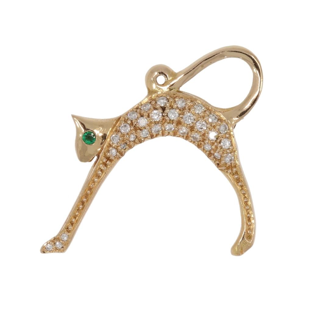 Broszo-wisior wformie zielonookiego (szmaragd) kota, XX wiek; zwierzęta