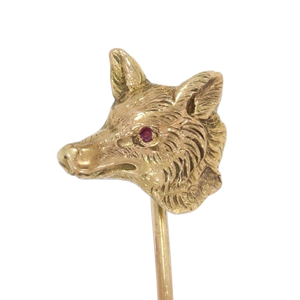 Szpilka dokrawata wformie głowy wilka, XIX/XX wiek; zwierzęta