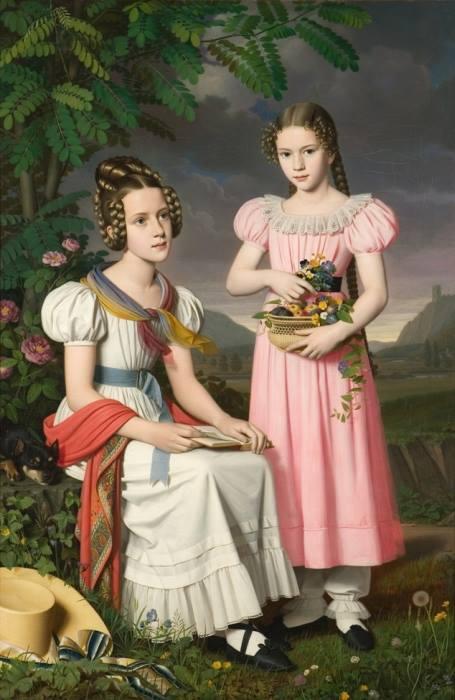 Bernhardt Peter von Rausch, Portret dwóch dziewcząt wogrodzie, 1830 r., biedermeier
