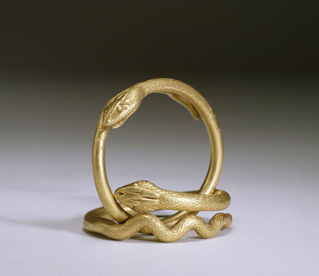 Para bransoletek wformie węży, Imperium Rzymskie, Iw. n.e.; zwierzęta