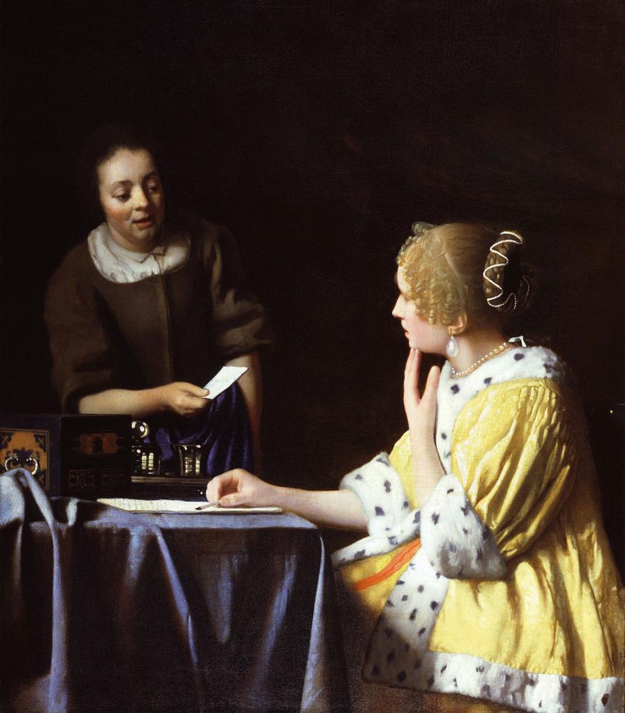 Johannes Vermeer, Kochanka ipokojówka, ok. 1666-1667; źródło: domena publiczna, perły