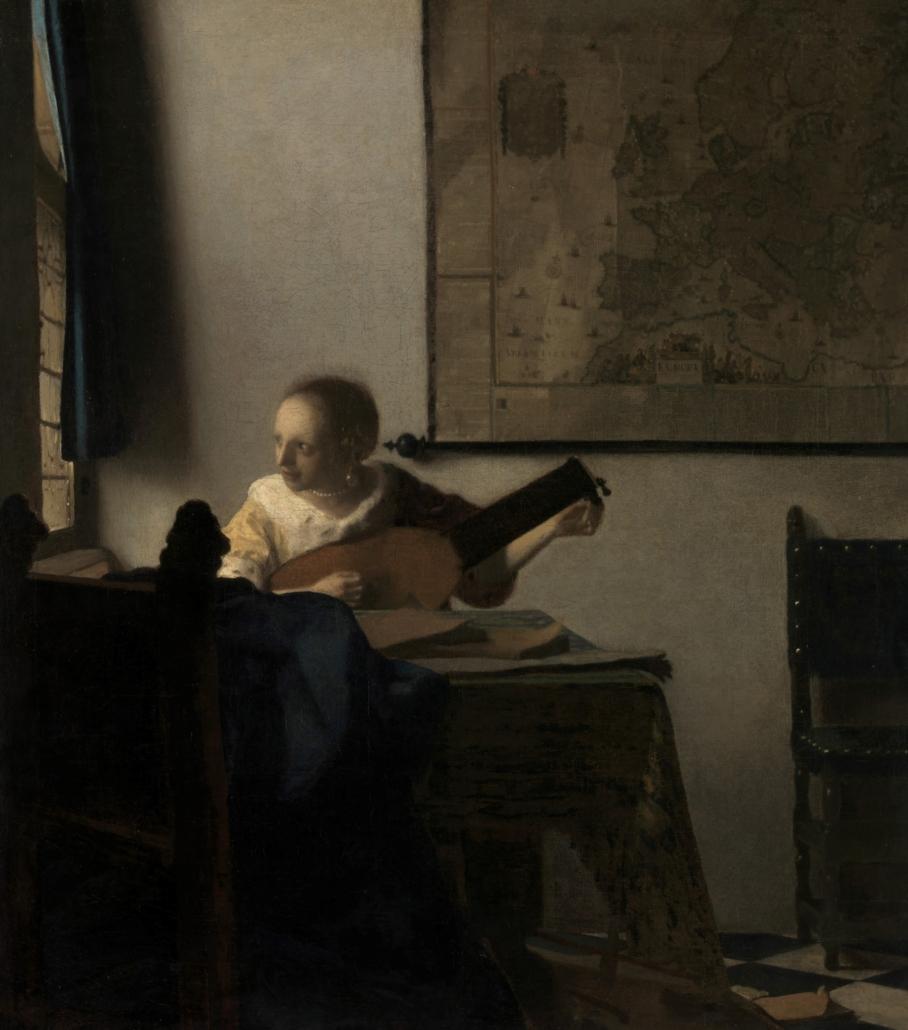 Johannes Vermeer, Dziewczyna zlutnią, 1662-1663; źródło: domena publiczna, perły