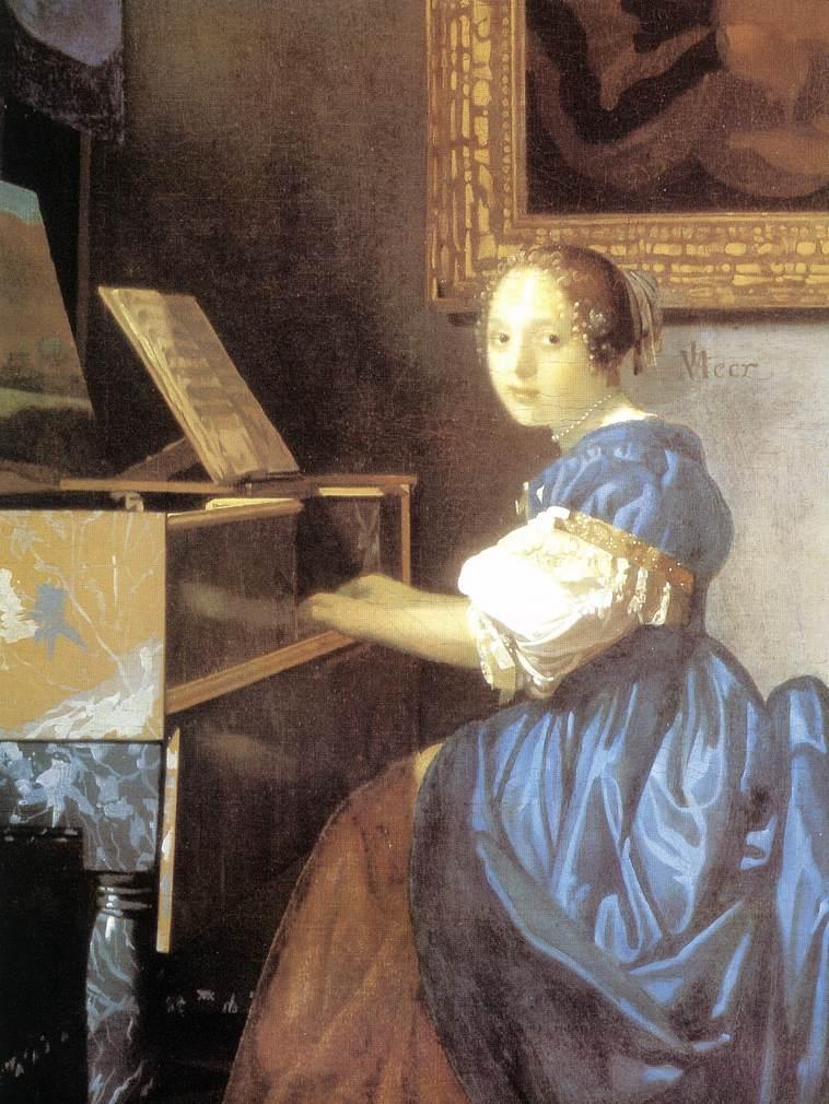 Johannes Vermeer, Dziewczyna siedząca przy klawesynie, 1670; źródło: domena publiczna, perły